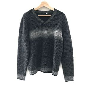 Calvin Klein Wool Grey Striped Ombré Sweater